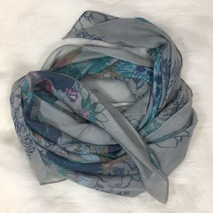 """Spring Scarf Floral Blue Gray 78"""" x 28"""""""